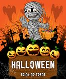 Poster of Halloween with mummy. Vector illustration. File in layers and editable vector illustration