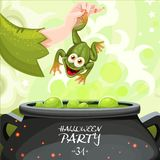 Poster for Halloween party throwing a toad in a magic potion Royalty Free Stock Photography