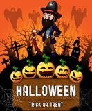 Poster of Halloween with pirate. Vector illustration. The file is editable and in layers Stock Photo
