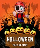 Poster of Halloween with pirate. Vector illustration. File in layers and editable stock illustration