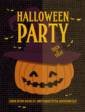 Poster with halloween pumpkin. Halloween party invitation card. Vector illustration Stock Photo