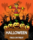 Poster of Halloween with scarecrow. Vector illustration. File in layers and editable vector illustration