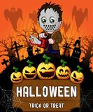 Poster of Halloween with serial killer with mask. Vector illustration. The file is editable and in layers Royalty Free Stock Images