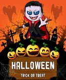 Poster of Halloween with vampire. Vector illustration. The file is editable and in layers Stock Image
