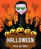 Poster of Halloween with vampire. Vector illustration. File in layers and editable Royalty Free Stock Photography