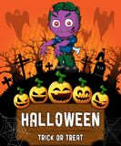 Poster of Halloween with zombie. Vector illustration. File in layers and editable Stock Image