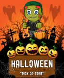 Poster of Halloween with zombie. Vector illustration. File in layers and editable stock illustration