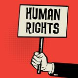 Poster in hand, business concept with text Human Rights. Vector illustration Stock Photo