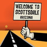 Poster in hand, business concept Welcome to Scottsdale, Arizona Royalty Free Stock Photography