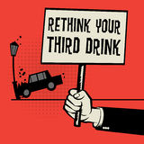 Poster in hand car crash and text Rethink Your Third Drink Stock Photo