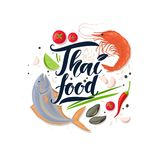 Thai food 01. Poster and hand draw lettering Thai food. Vector illustration template for design. National cuisine and seafood Stock Photography