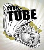 Poster Hand-drawn com aparelho de televisão retro Fotografia de Stock