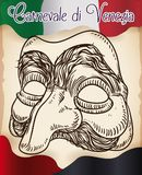 Beautiful Hand Drawn Pantalone Mask for Italian Venice Carnival, Vector Illustration. Poster with hand drawn design of Pantalone mask over a old scroll with Royalty Free Stock Photography
