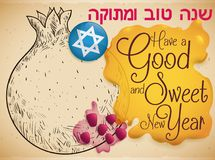 Pomegranate, Seeds, Honey and Badge for Sweet Jewish New Year, Vector Illustration Royalty Free Stock Images
