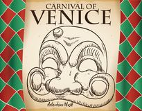 Curtains and Scroll with Sketched Arlecchino Mask for Venice Carnival, Vector Illustration Royalty Free Stock Images
