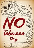 Cigarette and Smoke with Skull Promoting No Tobacco Day, Vector Illustration. Poster in hand drawn style with a cigarette and smoke forming a skull shape for No Royalty Free Stock Photo
