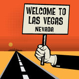 Poster in hand, text Welcome to Las Vegas, Nevada Royalty Free Stock Photography