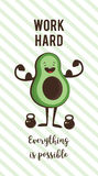 Poster of happy avocado exercise ad heavy lifting. Healthy lifestyle motivation poster. Poster of happy avocado exercise at a gym. Healthy lifestyle motivation Royalty Free Stock Image