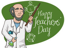 Poster with Happy Chemistry Teacher Celebrating  Royalty Free Stock Photography