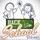 Happy Friends Behind Chalkboard Celebrating Back to School Season, Vector Illustration Royalty Free Stock Images