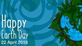 Poster Happy Earth Day. 22 April. 2018. Happy Earth Day. 22 April. 2018. Poster template illustration of the Earth with continents in a leaf frame on background Royalty Free Stock Photography