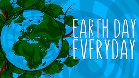 Poster Happy Earth Day. 22 April. 2018. Happy Earth Day. 22 April. 2018. Poster template illustration of the Earth with continents in a leaf frame on background Stock Images