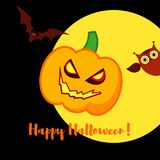 Poster Happy Halloween. Halloween pumpkins smile. Illustration Royalty Free Stock Photos