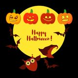 Poster Happy Halloween. Halloween pumpkins smile. Illustration Stock Photos