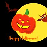 Poster Happy Halloween. Halloween pumpkins smile. Illustration Stock Photography