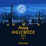 Poster Happy Halloween holiday pumpkin, cemetery, black abandoned castle, attributes of the holiday of All Saints, ghost. Poster Happy Halloween holiday pumpkin royalty free illustration