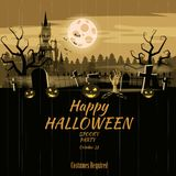 Poster Happy Halloween holiday pumpkin, cemetery, black abandoned castle, attributes of the holiday of All Saints, ghost. Poster Happy Halloween holiday pumpkin stock illustration