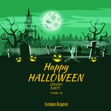Poster Happy Halloween holiday pumpkin, cemetery, black abandoned castle, attributes of the holiday of All Saints, ghost. Poster Happy Halloween holiday pumpkin vector illustration