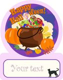 Poster of happy halloween with pot filled with sweets. Vector. stock illustration