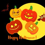 Poster Happy Halloween. Halloween pumpkins smile. Illustration Royalty Free Stock Photography