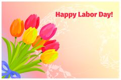Poster of Happy Labor Day with Bouquet of Tulips. Festive poster of happy labor day with bouquet of seven tulips vector illustration. Pink, yellow and orange Stock Image