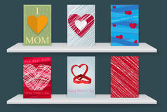 Poster happy mothers day abstract  with White shelves. Stock Images