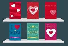 Poster happy mothers day abstract  with White shelves. Stock Photos