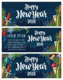Poster Happy New Year 2018 calligraphy lettering with night city. Happy New Year 2018 calligraphy lettering and champagne glass, bottle, bell, serpentine, rocket Stock Photo