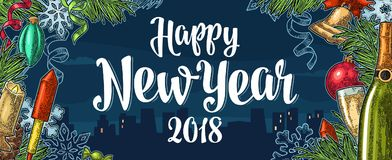 Poster Happy New Year 2018 calligraphy lettering with night city. Happy New Year 2018 calligraphy lettering and champagne glass, bottle, bell, serpentine, rocket Stock Images