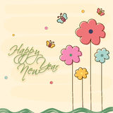Poster for Happy New Year celebrations. Happy New Year celebration poster or banner with stylish text, flowers and butterfly on beige background stock illustration