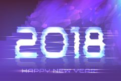 Poster of Happy New Year! Cyber 2018. Electronic effect, fuzzy, neon Stock Photo
