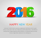 Poster Happy New Year 2016. Design a poster (banner) Happy New Year 2016. 3D text in different colors. Vector illustration Stock Photography