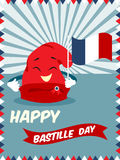 Poster with happy Phrygian cap for Bastille Day Stock Photography