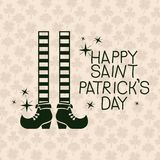 Poster happy saint patricks day with legs of leprechaun with striped socks in green color silhouette with background Royalty Free Stock Image