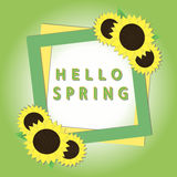 Poster happy spring. Vector illustration of logo for green poster inscription happy spring,isolated on background.Spring drawing consisting of label design Stock Photo