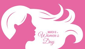 Poster happy women`s day. Silhouette face woman and space for text royalty free illustration