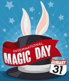 Hat with Ribbon and Rabbit Ears for Magic Day Celebration, Vector Illustration. Poster with a hat in starry stage and a rabbit ready to do its performance in a Royalty Free Stock Images