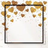 Poster with heart of gold confetti, sparkles, golden glitter in black frame, border Royalty Free Stock Image