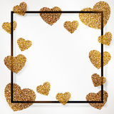 Poster with heart of gold confetti, sparkles, golden glitter and lettering Happy Valentines Day in black frame, border Stock Photos