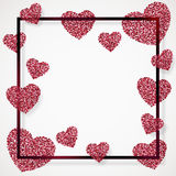 Poster with heart of pink confetti, sparkles, glitter in black frame, border Stock Image